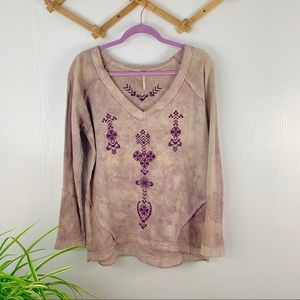 Free People Embroidered Tye-Dye Pullover Sweater